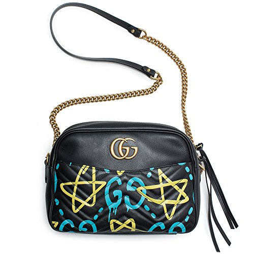 """5179k6 zi1L Ghost printed matelassé leather shoulder bag Street artist Trouble Andrew scribbles all over Gucci's iconic silhouettes for a coveted, irresistible statement. The graffiti-inspired motif adorns this ladylike, matelassé style for an achingly cool, urban contrast. Let yours keep all of your essentials and more safe and stylish. Made in Italy Height 20cm-8"""" Width 27cm-10.5"""" Depth 8cm-3"""" Chain length 130cm-51"""" material: calf leather internal details: suede lining, internal zipped and slot pockets colour of chain strap: antique gold colour of fastening: antique gold chain and leather shoulder strap"""