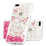 ZSTVIVA Case for iPhone 7 Plus/iPhone 8 Plus, Printed Bling Shiny Sparkle Glitter Crystal Clear TPU Cover Protective Shell Skins for iPhone 7 Plus/iPhone 8 Plus - Pink Flower