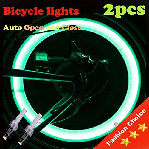 Vabration Sensor Waterproof Shockproof Lamp Bicycle Wheel Neon Tire Valve Led Light 2 pieces (Black color - green light)