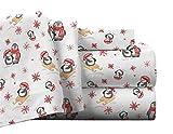 Pointehaven Flannel Deep Pocket Set with Oversized Flat Sheet, California King, Penguin