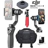 DJI Osmo 2 Mobile Handheld Smartphone Gimbal Stabilizer Videographer Bundle with Case, Flex Tripod, Base and Lens Maintenance Kit