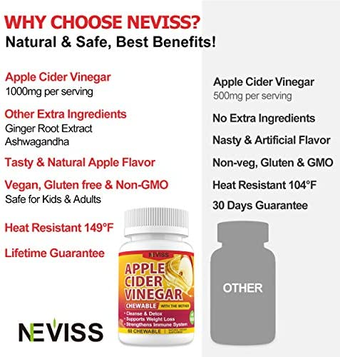 (2 Pack)Organic Apple Cider Vinegar Pills with The Mother for Weight Loss, Detox & Cleanse, ACV Pills for Women, Vegan Apple Cider Vinegar Tablets 1000mg Alternative to ACV Gummies, Capsules-120 Tabs 7