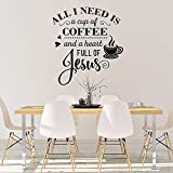 WSLIUXU Coffee and Jesus Kitchen Wall Stickers Coffee Shop Cafe Lover Restaurant Decoration Decal Detachable Vinyl Window Wall Decal Home Garden Wall Sticker Purple 64x57cm