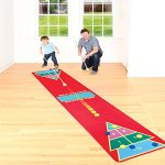 Etna Shuffleboard Rug Game - Classic Shuffle-Board Party Game for All Ages | Fun Floor Games for Adults and Kids W2.25' x L12' |Kit Includes 2 Wooden Cues and 10 Wooden Pucks - Indoors | Outdoors