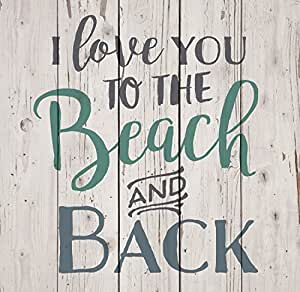 Download Amazon.com: I Love You To The Beach & Back White Wash 18 x ...
