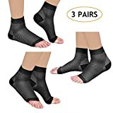 Laneco Plantar Fasciitis Socks (3 Pairs), Compression Foot Sleeves with Heel Arch & Ankle Support, Great Foot Care Compression Sleeve for Men & Women (Black, L(US Men 8-12.5 / Women 7-10))