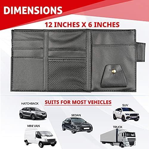 EcoNour Car Sun Visor Organizer | Multi-Pocket Car Organizer | Sunglasses Holder for Car | Visor Auto Interior Car Accessories | Cards, Pen Holder | Travel Accessories | Visor Document Holder 17
