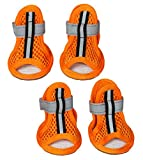 PET LIFE 'Sporty Supportive' Summer mesh Pet Dog Sandals Shoes Booties- Set of 4, Small, Orange