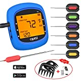 Bluetooth Meat Thermometer, Wireless Digital BBQ Thermometer for Grilling Smart with 6 Stainless Steel Probes Remoted Monitor for Cooking Smoker Kitchen Oven, Support iOS & Android