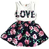 Jastore Girls Letter Love Flower Clothing Sets Top+Short Skirt Kids Clothes (6-7T)