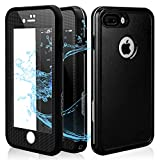 iPhone 7 Plus Waterproof Case, IP68 Full Body Underwater Cellphone Cover with Clear Sound- Black