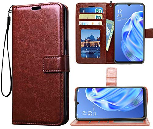 Jkobi Vintage Flip Case Cover for Oppo F15 | Premium Leather | Inner TPU | Foldable Stand | Wallet Card Slots -Brown 3