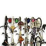 Koova Wall Mount Bike Storage Rack Garage Hanger for 6 Bicycles + Helmets | Fits All Bikes Even Large Cruisers/Big Tire Mountain Bikes | Heavy Duty Powder Coated Steel | Made in USA (6 Bike Rack)