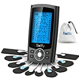 Dual Channel TENS EMS Unit 24 Modes Muscle Stimulator for Pain Relief Therapy, Electronic Pulse Massager Muscle Massager with 10 Pads, Dust-Proof Drawstring Storage Bag & Fastening Cable Ties