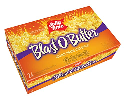 JOLLY TIME Blast O Butter | Ultimate Movie Theater Style Microwave Popcorn with Extra Buttery Flavor, Palm Oil, Salt and Non GMO Kernels (Bulk 24-Count Box)