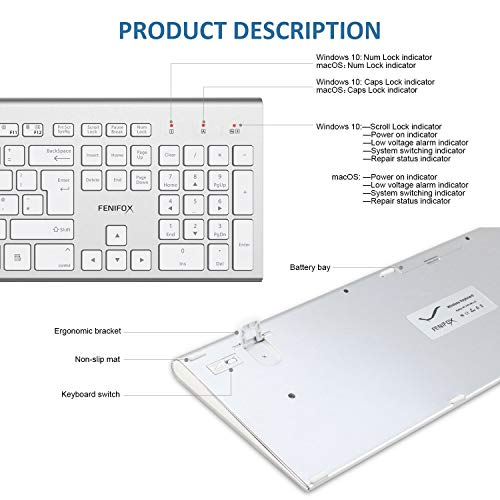 517TbqxM51L - FENIFOX Wireless Keyboard & Mouse, Dual System Switching Double Ergonomic 2.4G USB QWERTY Full Size UK Layout for Computer PC Mac imac Laptop Windows 10 8 7 Xp (Silver & White)