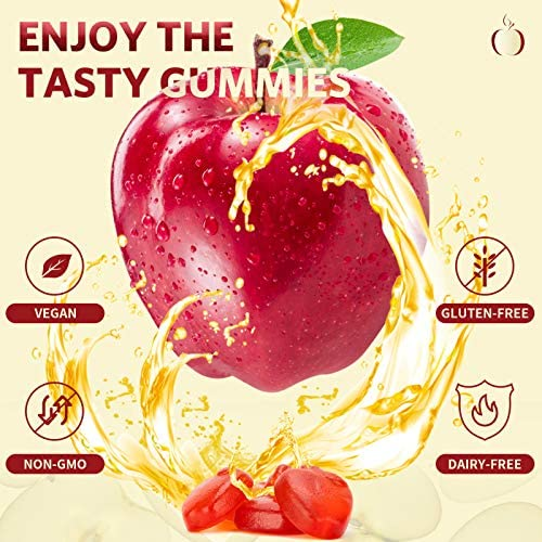 Apple Cider Vinegar Gummies for Detox Cleanse Weight Loss and Immunity Support, GPEESTRAC ACV Vitamins with The Mother Raw Organic Unfiltered Vitamins B9 B12(2 Pack, 132 Gummies) 5