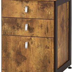 HomeRoots Benjara Benzara BM172226 Antique File Cabinet with Drawers, Brown,
