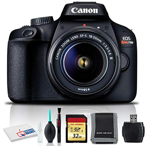 Canon EOS Rebel T100 DSLR Camera with 18-55mm Lens, Cleaning Kit, 32GB Memory, and More