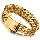 Jxlepe Miami Cuban Link Chain Bracelet 18K Gold 16mm Big Stainless Steel Curb Bangle for Men (8.5)