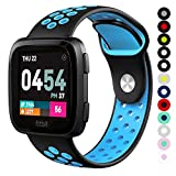 Compatible for Fitbit Versa | Soft Silicone Replacement Sport Band for New Fitbit Versa Smart Watch (Black/Blue, Large)