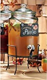 Home Essentials & Beyond Del Sol Glass Beverage Drink Dispenser With Knobbed Lid, Chalkboard On Chain, On Metal Stand and Raised Easy Flow Spigot, 1.5 Gallon for Picnics Parties Bbq