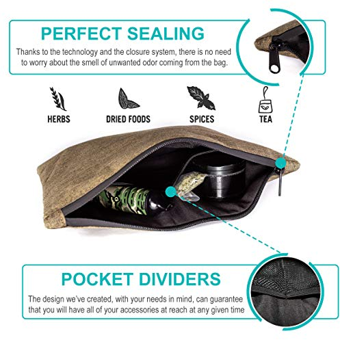Travel Smell Proof Bag with Double Zipper – Dog Tested Odorless Storage Bags for Medical Herbs, Tea or Spices – Smellproof Weed Container with Secret Pouch – B0NUS Two Doob Tubes deal 50% off 517aRZzkhpL