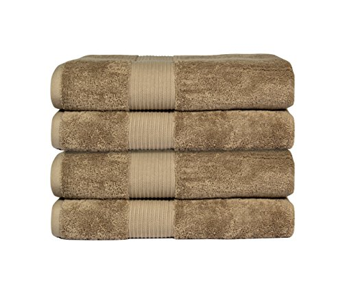 Bliss Luxury Combed Cotton Bath Towel - 34' x 56' Extra Large Premium Quality Bath Sheet - 650 GSM - Soft, Absorbent (Mocha, 4 Pack)