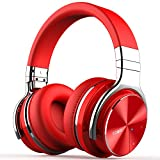 COWIN E7 PRO [2018 Upgraded] Active Noise Cancelling Headphone Bluetooth Headphones with Microphone Hi-Fi Deep Bass Wireless Headphones Over Ear 30H Playtime for Travel Work TV Computer Phone - Red