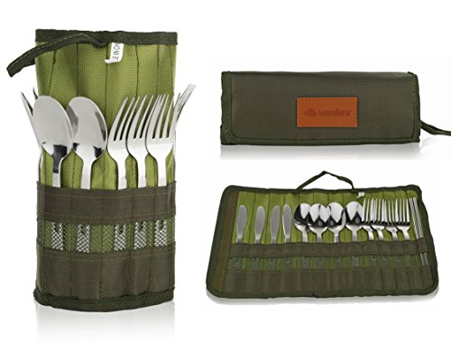 Cutlery Organizer Pouch - 13 Piece Silverware Table Display Stand | 13 Pc Flatware Foldable Travel Storage Kit with Handle| 4 Forks, 4 Spoons, 4 knives and 1 Chopstick Set - Hiking | Camping | BBQ's