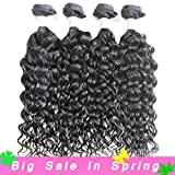 XYHair Brazilian Virgin Water Wave Human Remy Hair Weave Extensions Wet And Wavy Top Quality 100% Unprocessed natural wave Hair bundles Natural Black (20202020, natural black)