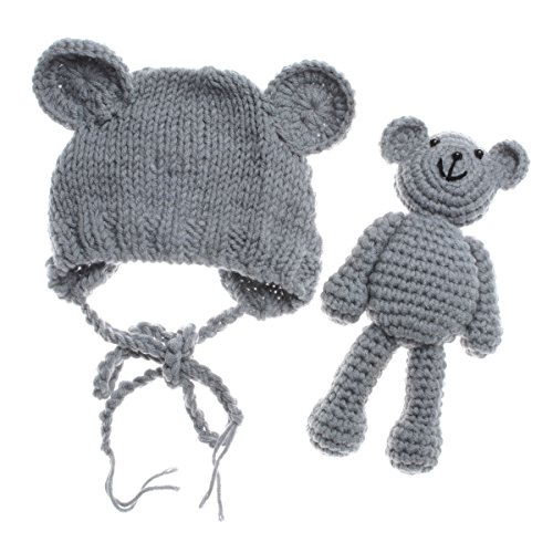 ECYC Newborn Baby Bear Hat Beanie with Bear Dolls Photography Accessories Grey