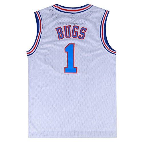 Mens Basketball Jersey Bugs Bunny #1 Space Jam Jersey White M (White, Medium)