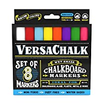 Liquid Chalk Markers by VersaChalk - Non Toxic Wet Erase Chalkboard Window Glass Pens (Fine Neon Colors Set)