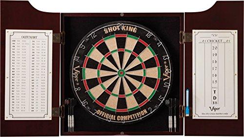 Viper by GLD Products Viper Hudson Sisal/Bristle Steel Tip Dartboard & Cabinet Bundle: Standard Set (Shot King Dartboard)