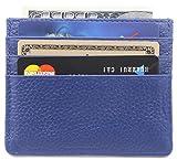 DEEZOMO Genuine Leather RFID Blocking Card Case Wallet Slim Super Thin 6 Card Slots Compact Wallet - Navy Blue
