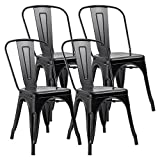 JUMMICO Metal Dining Chair Stackable Indoor-Outdoor Industrial Vintage Chairs Bistro Kitchen Cafe Side Chairs with Back Set of 4 (Black)