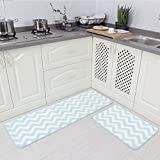 Carvapet 2 Pieces Microfiber Chevron Non-Slip Soft Kitchen Mat Bath Rug Doormat Runner Carpet Set
