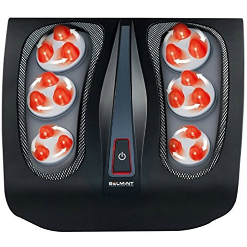 Shiatsu Foot Massager for Plantar Fasciitis - Heated Electric Deep Kneading Foot Massage for Chronic Neuropathy foot pain relief and Nerve Pain | Features Built-in Infrared Heat