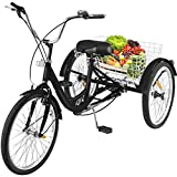 Happybuy Adult Tricycle 7 Speed Single Three Wheel Bike Cruise Bike 24inch Seat Adjustable Trike with Bell, Brake System and Basket Cruiser Bicycles Large Size for Shopping (24inch, Black 7 Speed)