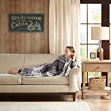 Woolrich Anderson Luxury Print Mink Down Alternative Filled Throw Grey 50x70   Plaid Premium Soft Cozy Mink For Bed, Couch or Sofa