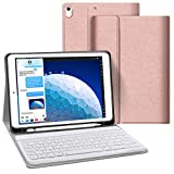 JUQITECH Keyboard Case 10.5 inches for iPad Air 3 10.5 2019 3rd Gen iPad Pro 10.5 2017, Auto Sleep/Wake Detachable Wireless Bluetooth Keyboard Magnetic Smart Case Cover with Built-in Pencil Holder