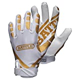 Battle Ultra Stick Adult White/Gold Gloves, Small