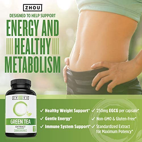 Green Tea Extract Supplement with EGCG for Healthy Weight Support- Metabolism, Energy and Healthy Heart Formula - Gentle Caffeine Source - Antioxidant & Free Radical Scavenger - 120 Veggie Capsules 3