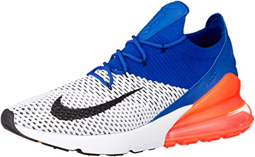 Nike Air Max 270 Flyknit Mens Running Trainers AO1023 Sneakers Shoes (UK 9 US 10 EU 44, White Racer Blue 101)