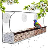 Gray Bunny GB-6850 Deluxe Clear Window Bird Feeder, Large Wild Birdfeeder with Drain Holes, Removable Tray, Super Strong Suction Cups, Transparent Viewing, Covered, High Seed Capacity, Rubber Perch
