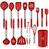 Silicone Cooking Utensil Set, AILUKI Kitchen Utensils 14 Pcs Cooking Utensils Set,Non-stick Heat Resistant Silicone Spatula Set, Cookware with Stainless Steel Handle - Red