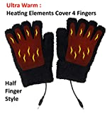 Obbomed MH-1020 USB 5V Composite Heating Element Warming Half Finger Stretchy Gloves - Connected to USB Port, PC, Laptop, Adapter for Power-Size : 7.5 x 5 inches, Black, Unisex,Universal Size