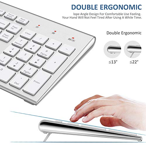 517swt6sgVL - FENIFOX Wireless Keyboard & Mouse, Dual System Switching Double Ergonomic 2.4G USB QWERTY Full Size UK Layout for Computer PC Mac imac Laptop Windows 10 8 7 Xp (Silver & White)