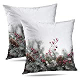 Soopat Decorative Throw Pillow Cover Square Cushion 16'X16' Set of 2, Art Christmas Card Tree Winter Berry White Red Greeting Branch Pillowcase Home Decor Kitchen Garden Sofa